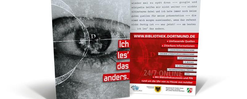 Bibliothek Dortmund – Postkarte »Ich les' das anders.«