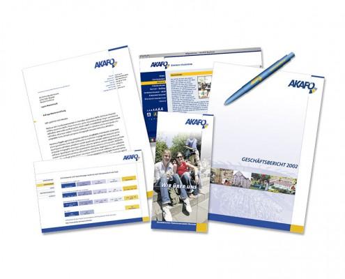 Geschäftsausstattung: AKAFÖ – Styleguide, Logo, Briefbögen, Folder, Website etc.