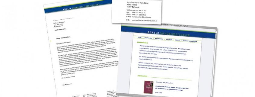 Geschäftsausstattung: Bühler Fachübersetzungen – Briefbogen, Visitenkarte, Website etc.