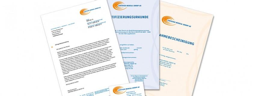 Geschäftsausstattung: Certified Medical Group – Logo, Briefbögen, Visitenkarte etc.