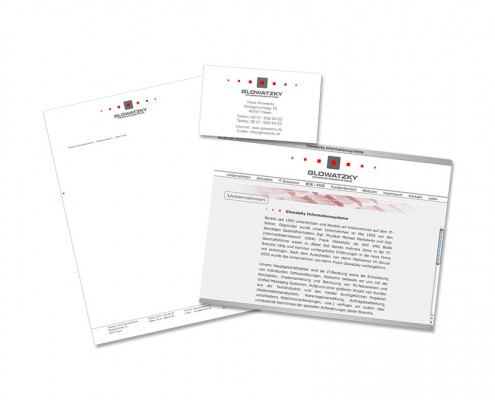 Geschäftsausstattung: Glowatzky Informationssysteme – Logo, Briefbogen, Visitenkarte, Website etc.