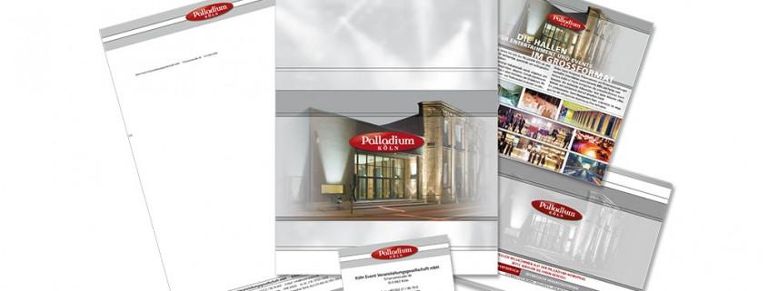 Geschäftsausstattung: Palladium Köln – Briefbögen, Folder, Website etc.