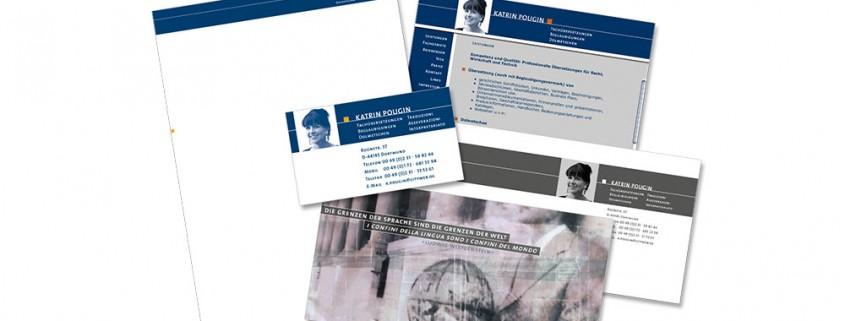 Geschäftsausstattung: Pougin Fachübersetzungen – Logo, Briefbogen, Visitenkarte, Werbekarte etc.