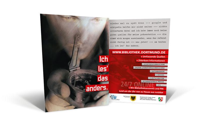POSTKARTE: Bibliothek Dortmund – Postkarte »Ich les' das anders.«