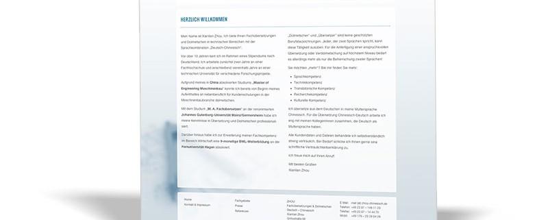 Website: Zhou – Fachübersetzungen Dolmetschen – deutsche Version