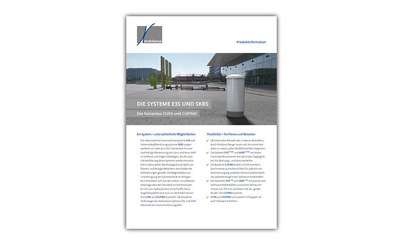 FLYER: moklansa – »Die Systeme E3S und SKBS – Die Varianten CUPA und CUPINO«